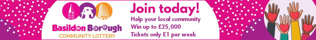 Decorative image advertising the Basidlon Borough Community Lottery