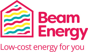 Decorative image showing the BEAM Energy - Low-cost energy for you brand logo