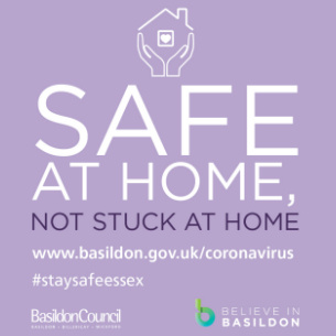 Decorative image showing Coronavirus advice - Safe at home, not stuck at home