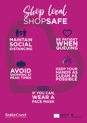COVID-19 - Shop Local Shop Safe campaign poster