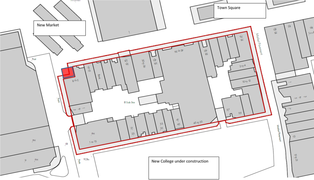 Image showing Map - Open space land proposed for disposal at East Square, Basildon SS14 - July 2020