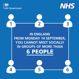 Graphic promoting COVID-19 Rule of Six guidance - September 2020