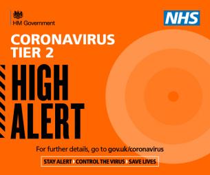 Graphic image: COVID-19 - Coronavirus Tier 2 - Alert level HIGH