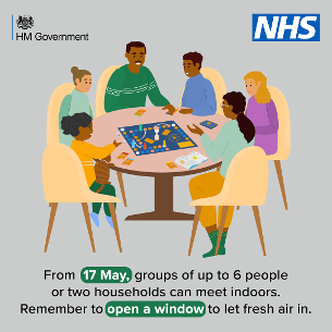 Graphic image: COVID-19 - from 17 May 2021 groups of up to 6 people or two households can meet indoors.