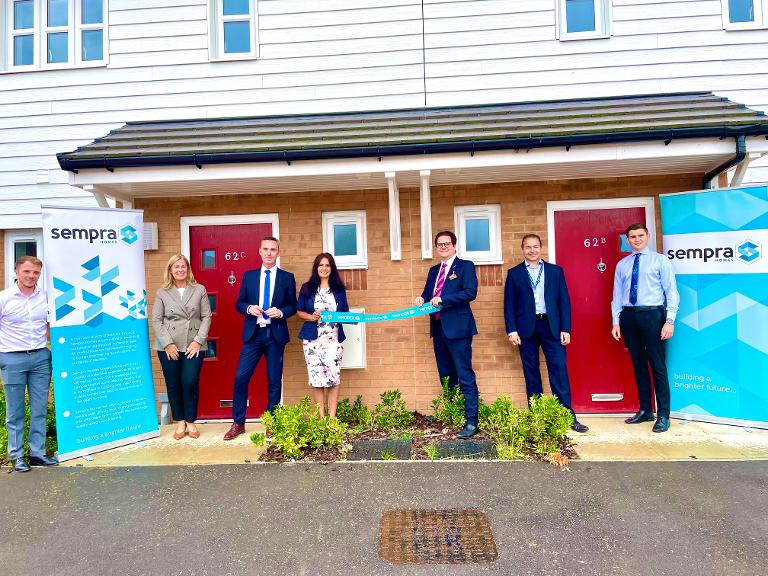 Decorative image showing Basildon Council and Sempra Homes officers with leading councillors at the new development