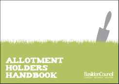 Image promoting Basildon council's Allotment Holders Handbook