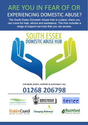 An image showing the South Essex Domestic Abuse Hub - A4 Campaign flyer - December 2017