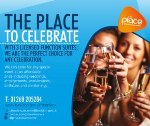 Image promoting The Place Multi-purpose Leisure Centre in Pitsea; the place to celebrate