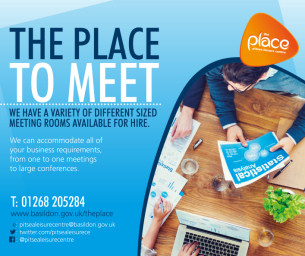 Image promoting The Place Multi-purpose Leisure Centre in Pitsea; the place to meet