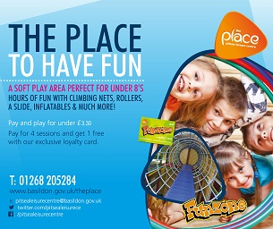 Image promoting The Place Multi-purpose Leisure Centre in Pitsea; the place for children to have fun