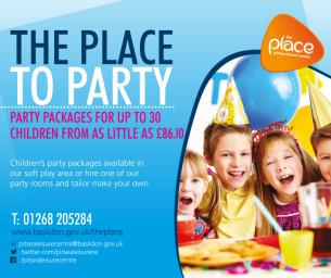 Image promoting The Place Multi-purpose Leisure Centre in Pitsea; the place for children to party