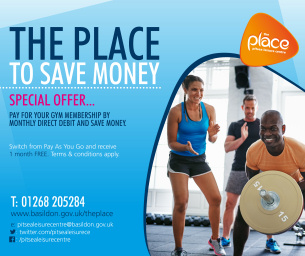 Image promoting The Place Multi-purpose Leisure Centre in Pitsea; the place to save money