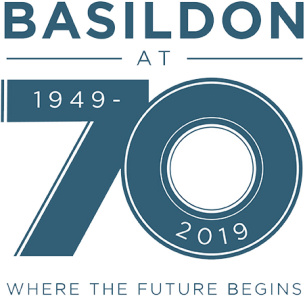 Brand Logo - Basildon at 70 celebrations - shows lettering 'Basildon at 70 , 1949-2019, Where the future begins'