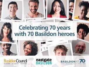 Image promoting Basildon 70th Celebrations - Nominate your Basildon Hero