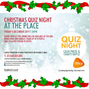 Christmas Quiz Night at The Place with Cash Prize and Charity Raffle