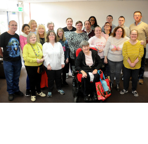Decorative photo image showing Basildon Hero - Papworth trust staff and clients
