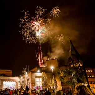 Decorative image showing Basildon at Christmas fireworks in St Martin's Square