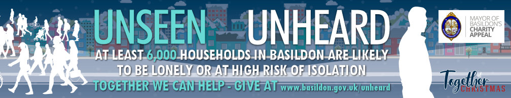 Decorative image promoting The Mayor of Basildon's 'Unseen Unheard' charity appeal which raises money to support local charities working to help people overcome loneliness and social isolation.