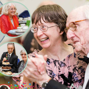 Image: shows a photo of a couple at the over 60s and 70s Vintage Tea Dance at Woodlands School, Basildon - A Basildon at 70 event.
