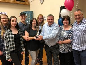 Decorative image - shows a photo of the Basildon at 70 Quiz Night winning team with trophy