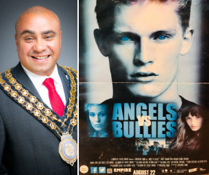 Decorative image - Basildon at 70 Monday Memory photo - Shows Mayor of Basildon with Poster of film 'Angels and Bullies' in which he featured in 2012
