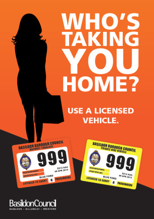 Image - Front cover of Basildon Council Taxi Safety leaflet - Who is taking you home tonight?
