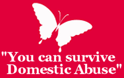 """Image showing a white butterfly on a red background with wording, """"You can survive domestic abuse""""."""