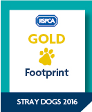 Image showing the RSPCA Gold Stray Dogs Footprint Logo , awarded to Basildon Council as Community Animal Welfare Footprint (CAWF) achievers in 2016