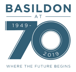 Brand Logo - Basildon at 70 celebrations - shows lettering 'Basildon at 70 , 1949-2019, Where the future begins'