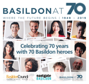 Image promoting Basildon at 70 - Basildon Hero nominations open, submit yours now.